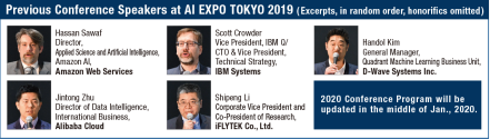 Previous Conference Speakers at AI EXPO TOKYO 2019 ( Excerpts, in random order, honorifics omitted)